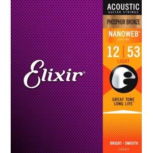 Elixir 16052 Nanoweb Coated Phosphor Bronze Acoustic Light 12-53
